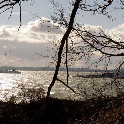 Eine Fähre läuft im Hafen Mukran ein